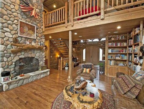 Lodge-style Stone Fireplace