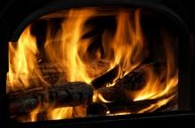 Logs in Fireplace
