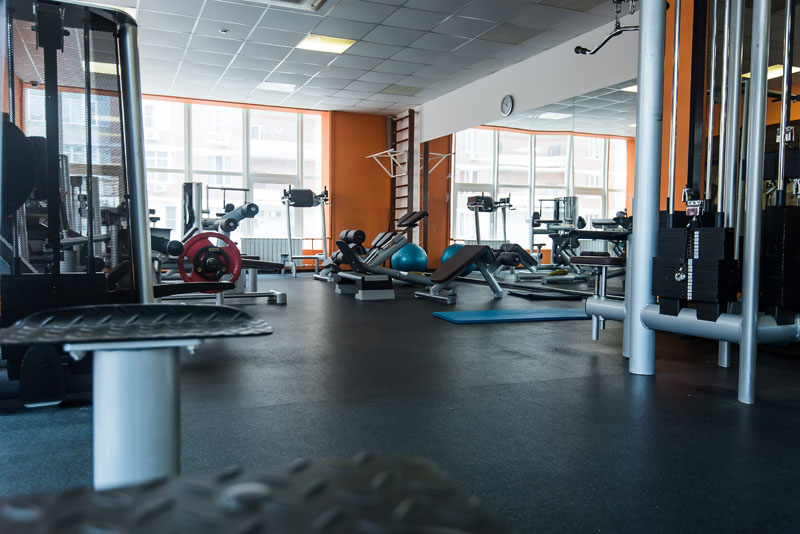 Orange exercise room or gym