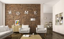 Modern living room interior with sofa, armchairs, brick wall 3d rendering